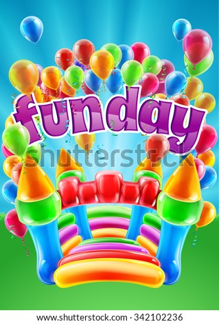 A bouncy castle and balloons funday event invite poster background design - stock photo