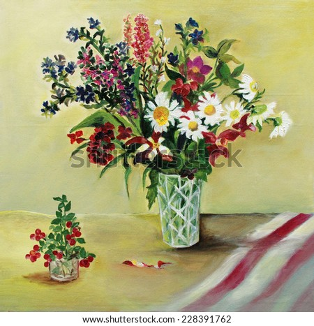 A bouquet of beautiful flowers in a vase on the table. Oil painting on canvas. - stock photo