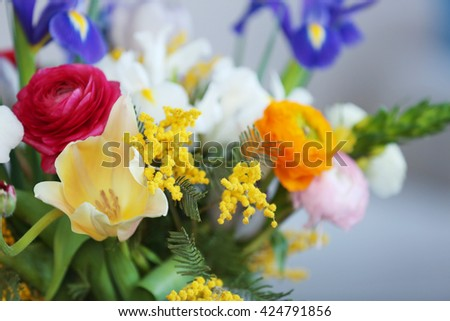 A bouquet of fresh flowers, close up