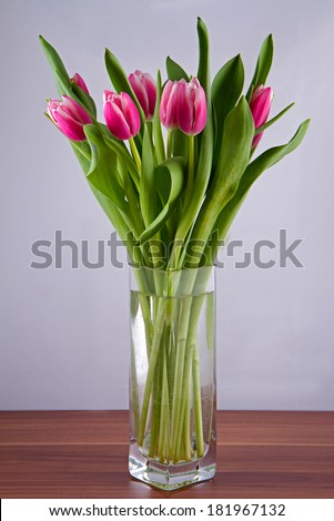 A bouquet of pink tulips in a vase