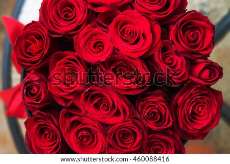 A bouquet of red roses. - stock photo