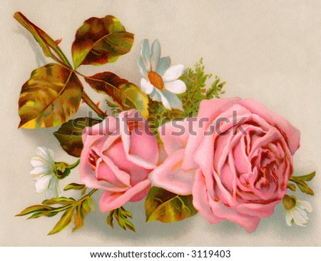 A bouquet of roses - circa 1890 Mother's Day greeting card illustration - stock photo