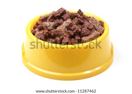 A bowl of animal food - stock photo