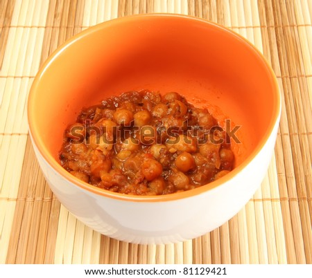 A bowl of Asian Indian style spicy chickpea curry