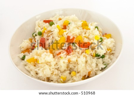A bowl of delicious vegetable fried rice. - stock photo