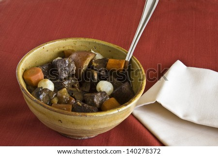 A Bowl of Hearty Beef Stew - stock photo