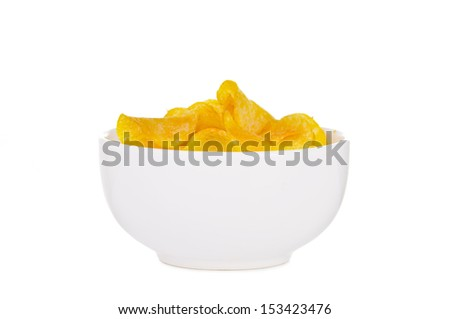 A bowl of potato chips isolated on white background - stock photo