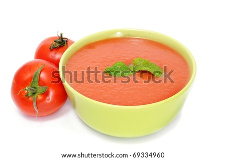 a bowl with gazpacho isolated on a white background - stock photo