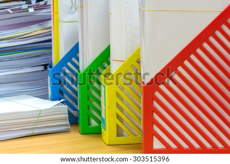 a box of document, business concept red, green, blue, yellow