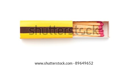 A box of matches on a white background - stock photo
