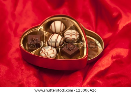 a box of Valentine's chocolate - stock photo