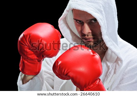 A boxer isolated on a black background - stock photo