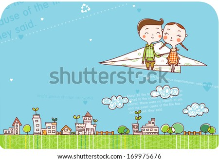 A boy and a girl sitting on a paper plane flying over a city. - stock photo