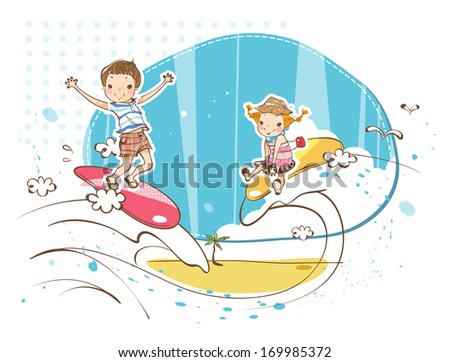 A boy and a girl surfing waves