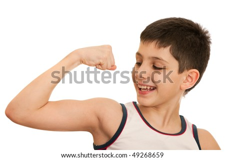 A boy is showing his arm muscles; isolated on the white background