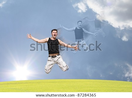 A boy jumping with excitement in the air