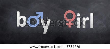 A boy meets a girl on the chalkboard - stock photo