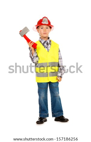 A boy playing fireman. Different occupations. Isolated over white.