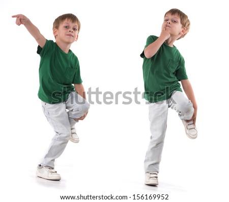 a boy standing on one leg,  - stock photo