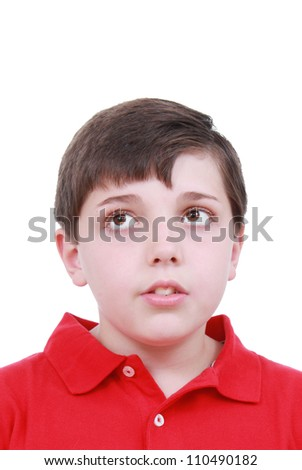 A boy thinking about school - stock photo
