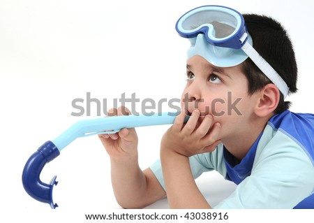 A boy with a snorkel and a swimsuit isolated on white background. - stock photo