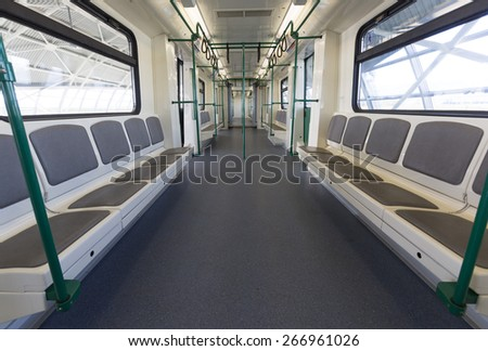 A brain new subway train from the inside. - stock photo