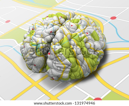 A brain wrapped with a simple road map texture laying on a flap road map - stock photo