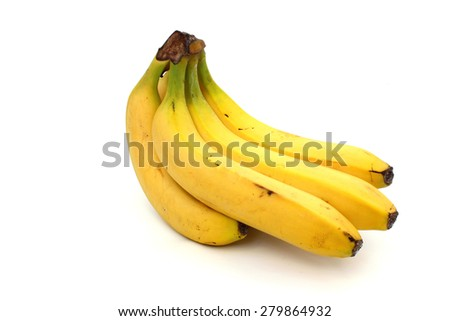 A branch of ripe bananas in real form - stock photo