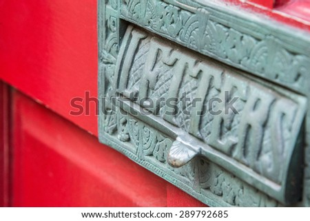 Brass letter box inscribed letters other stock photo 289792685 a brass letter box inscribed with letters and other patterns tarnished green on a spiritdancerdesigns Gallery