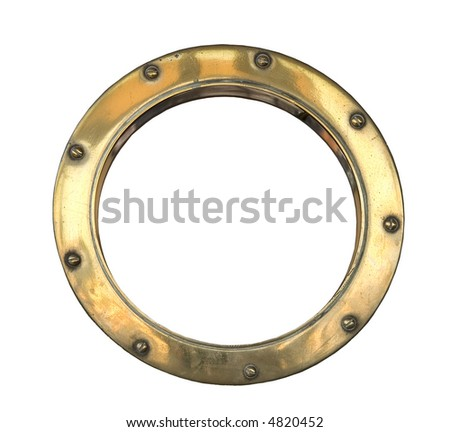 A brass ship's porthole isolated on white - stock photo