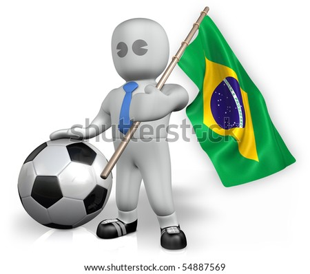A Brazil football fan with a flag and a ball - stock photo