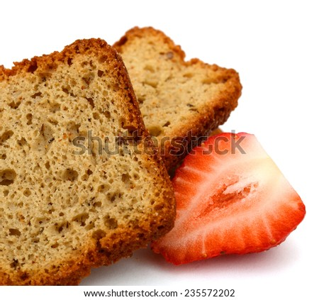 A breakfast with banana nut breads and strawberry - stock photo