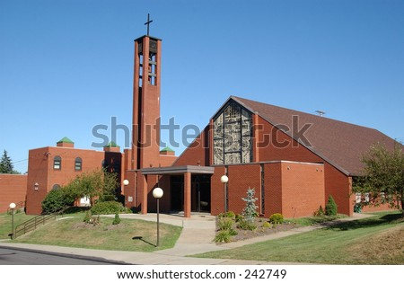 A brick church. - stock photo
