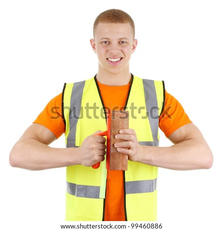 A brickie isolated on white - stock photo