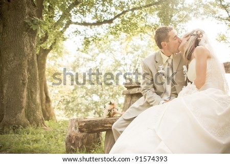 A bride and groom kissing on their wedding day - stock photo
