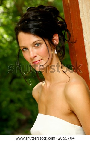 A bride in white wedding dress standing in a doorway - stock photo