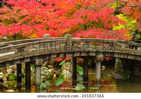 A bridge spans a small pond in a Japanese garden in Kyoto, Japan - stock photo