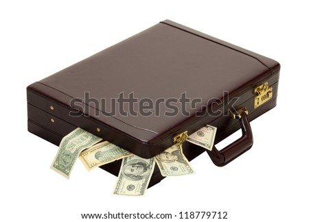 A briefcase overflows with expenses, wages, taxes or profits isolated on white - stock photo
