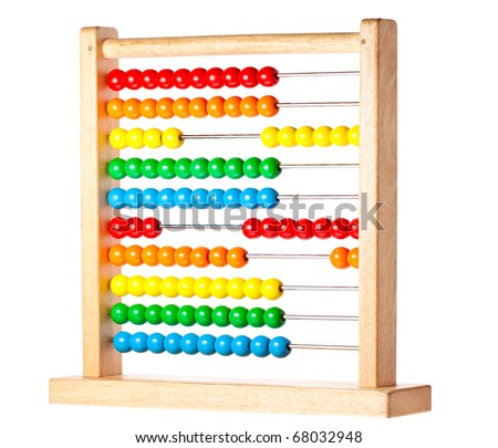 A bright and colorful abacus for children to count and learn on. Isolated on white with clipping path. - stock photo