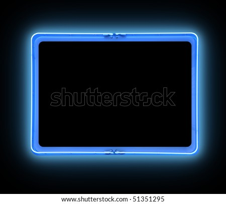 A bright blue neon blank sign on a black background is glowing bright. Add your own text message in the frame border. - stock photo