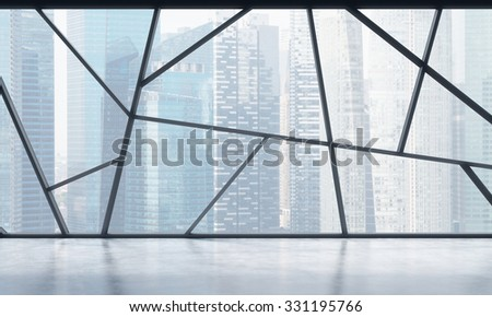 A bright contemporary panoramic empty office space with Singapore view. The concept of highly professional financial or legal services. 3D rendering. - stock photo