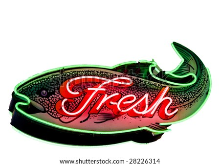 A bright red and green fresh fish sign at a local market - stock photo