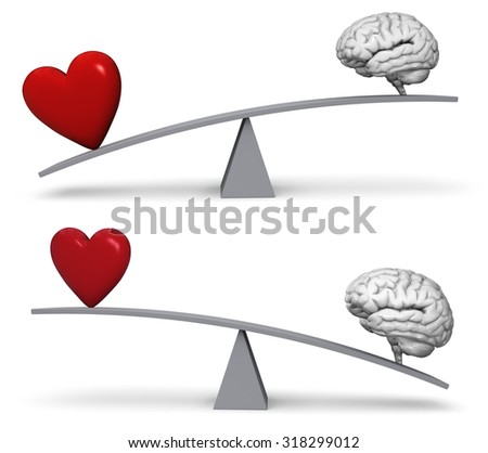 A bright, red heart and gray brain sit on opposite ends of a gray balance board.  In one image, the heart outweighs the brain in the other, the brain outweighs the heart. Isolated on white.