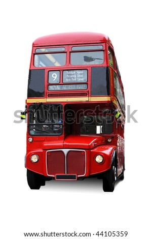 A bright red traditional London bus isolated over white - stock photo