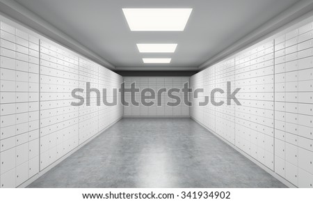 A bright space with safe deposit boxes. A concept of storing of important documents or valuables in a safe and secure environment. 3D rendering. - stock photo