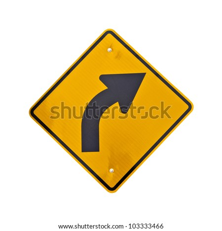 A bright yellow hazard sign of road curved ahead on a white background. - stock photo
