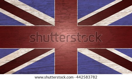 A British flag representative overlaid on a wooden pattern as background for creative design - stock photo