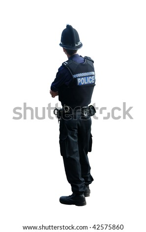 A British police officer with his backs to the camera, isolated on a pure white background. - stock photo