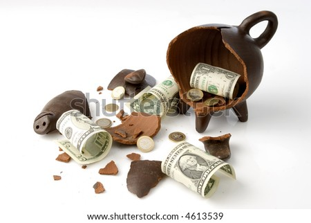 a broken and empty clay piggy money box with money over white background - stock photo