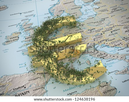 A broken euro currency symbol on the political map of Europe. - stock photo